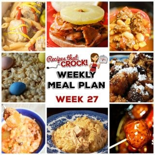 This week's weekly menu features Crock Pot BBQ Sticks and Stones, Crock Pot Cinnamon Raisin French Toast, Crock Pot Chicken and Dumplings, Crock Pot Cowboy Casserole, Crock Pot Easy Taco Soup, Crock Pot Cheeseburger Meatballs, Crock Pot Hawaiian Sandwiches and Crock Pot Rice Krispy Treats.
