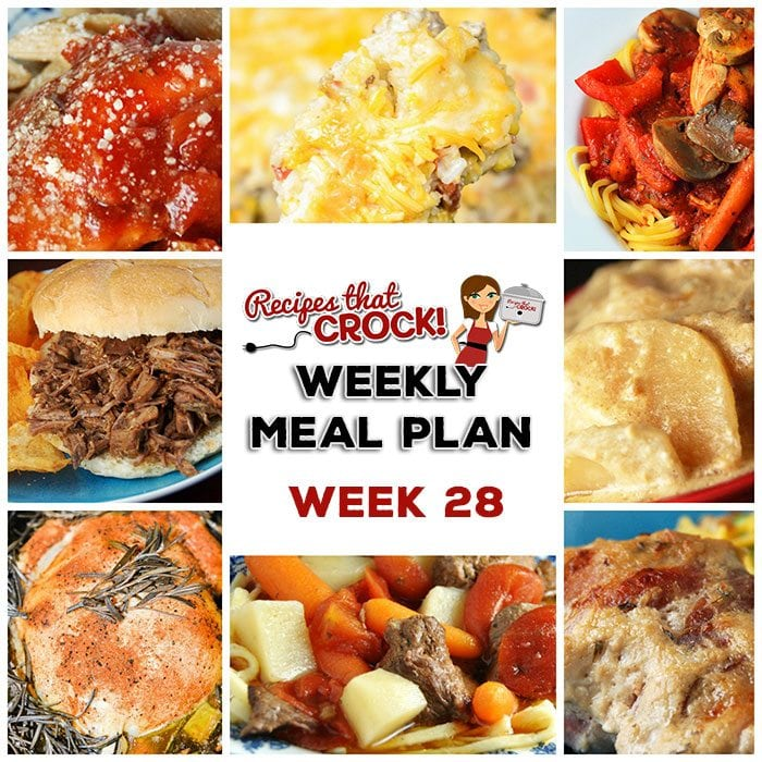 This week's weekly menu features Crock Pot Hot Pizza Dip, Crock Pot Hashbrown Casserole, Crock Pot Garlic Bacon Chicken, Crock Pot Saucy Potatoes, Crock Pot BBQ Steak Sandwiches, Crock Pot Savory Beef Stew, Crock Pot Sweet Corn Sausage Casserole, Crock Pot Parmesan Italian Chicken and Crock Pot Cinnamon Streusel Cake.