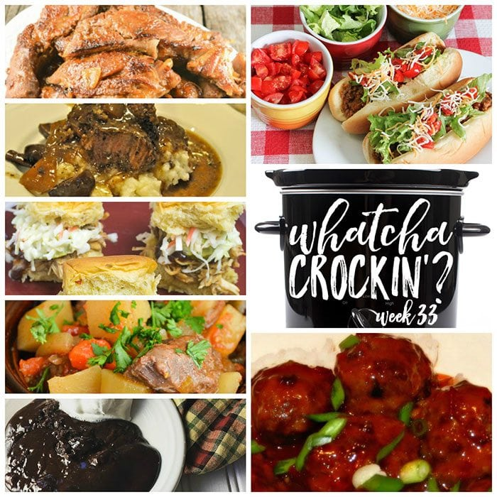 This week's Whatcha Crockin' crock pot recipes include Slow Cooker Asian Meatballs with an Orange Chili Sauce, Mom's Crock Pot Beef Stew, Easy Crock Pot Maple Whiskey Ribs, Crock Pot Taco Joes, Crock Pot Lava Cake, Crock Pot Beef Roast with Mushrooms and Onions, Crock Pot BBQ Cranberry Chicken Sliders and much more!