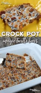 Do you love chocolate turtles? Then you are definitely going to want to try this simple recipe for these delicious Crock Pot Magic Turtle Bars! Yum!
