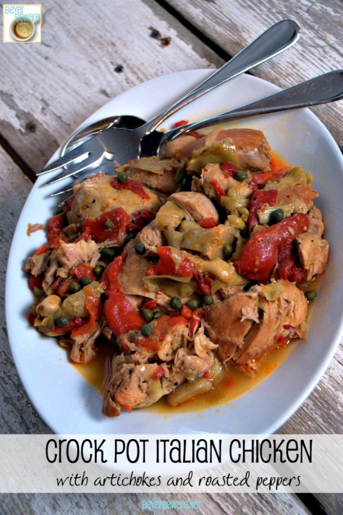 Crock Pot Italian Chicken with Artichokes and Roasted Red Peppers