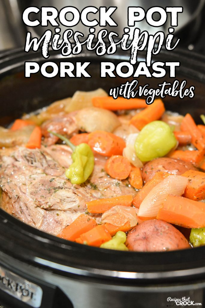 We have taken our ever popular Crock Pot Mississippi Pork Roast and added veggies to make a delicious one pot meal in this Slow Cooker Mississippi Pork Roast with Vegetables.