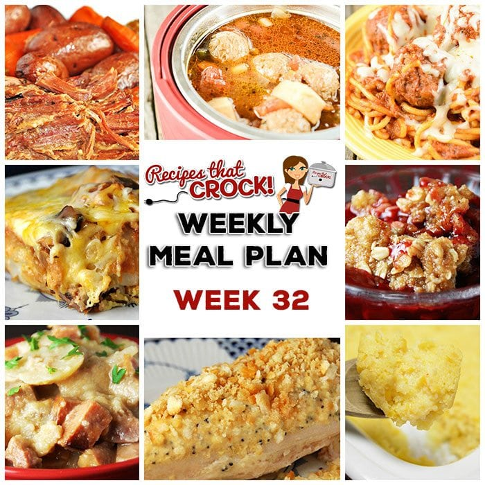 This week's weekly menu features Crock Pot Poppy Seed Chicken, Crock Pot Corn Pudding, Slow Cooker Pot Roast, Crock Pot Italian Meatball Soup, Crispy Slow Cooker Chicken, Crock Pot Country-Style Scalloped Potatoes, Spaghetti with Homemade Meatballs, Crock Pot Southwest Breakfast Casserole, Crock Pot Cherry Crisp and Crock Pot Creamy BBQ Ranch Dip.