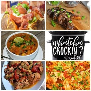 This week's Whatcha Crockin' crock pot recipes include Crock Pot Pulled Chicken Tacos, Sweet-Onion Teriyaki Beef Ribs, Crock Pot Steakhouse Potatoes, Crock Pot Chicken Fiesta Chowder and Crock Pot Italian Chicken with Artichokes and Roasted Red Peppers!