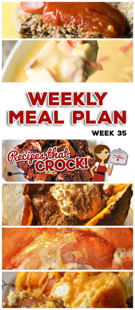 This week's weekly menu features Slow Cooker Sweet and Sour Chicken, Easy Crock Pot Ham, Crock Pot Sweet Potatoes, Crock Pot Ham and Cheese Soup, Wonderful Crock Pot Meatloaf, Crock Pot Potato Packet, Slow Cooker Apple BBQ Ribs, Crock Pot Roasted Potatoes, Crock Pot Breakfast Sausage Strata, Fudgy Crock Pot Reese's Spoon Cake and Slow Cooker Rice Krispy Treats.