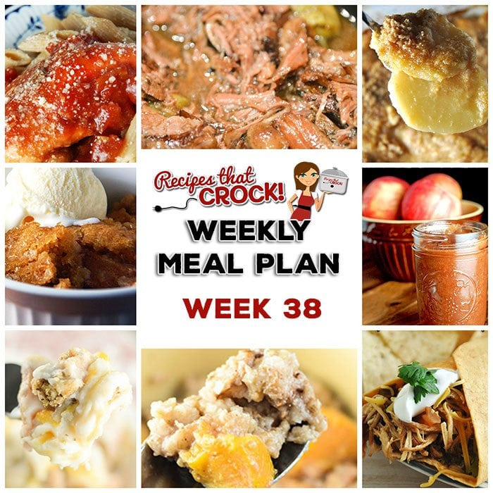 This week's weekly menu features Crock Pot BBQ Chicken Wraps, Crock Pot German Potato Salad, Mississippi Beef Roast, Crock Pot Cheesy Scalloped Potatoes, Easy Crock Pot Taco Soup, Crock Pot Farmers Pie, Parmesan Crock Pot Italian Chicken, Crock Pot Apple Crumble Cobbler, Slow Cooker Apple Butter and Crock Pot Peaches and Cream Overnight Oatmeal.