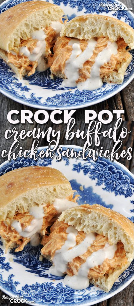 These Crock Pot Creamy Buffalo Chicken Sandwiches take your regular buffalo chicken sandwich to a different level! Oh. My. Yum.