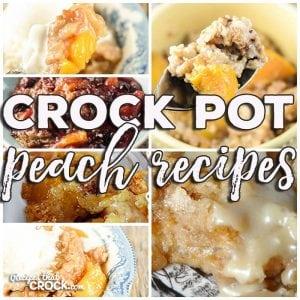 This week for our Friday Favorites we have some yummy Crock Pot Peach Recipes like Crock Pot Peaches 'n Cream Oatmeal, Crock Pot Peach Cobbler, Crock Pot Peach Crumble, Crock Pot Peachy Dump Cake, Crock Pot Peach Berry Crisp and Crock Pot Peaches 'n Cream Dump Cake!