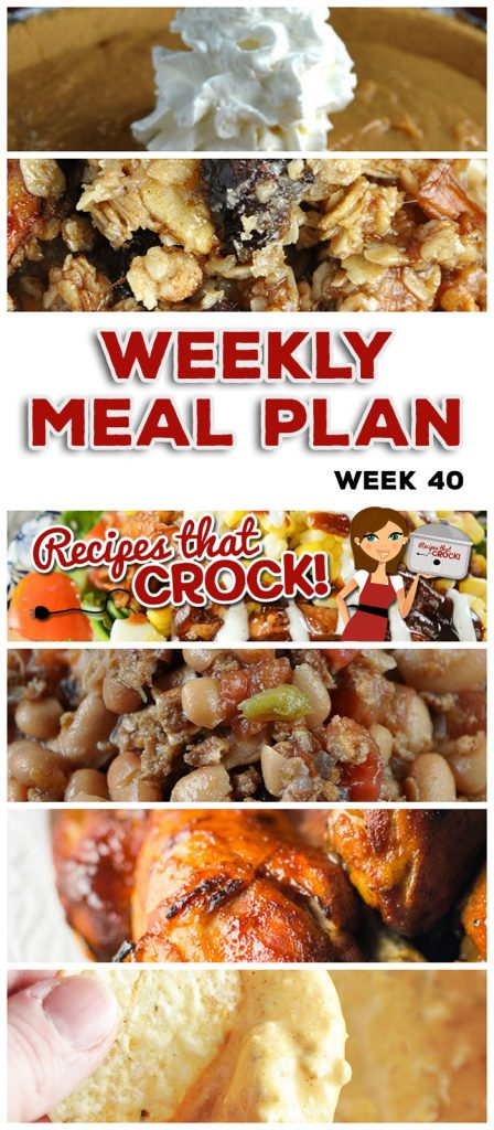 This week's weekly menu features Crock Pot BBQ Bacon Cheddar Meatloaf, Slow Cooker Chicken Enchilada Rollups, Leftover Day OR Crock Pot Bean Bacon Soup, Crock Pot Chicken Drumstick, Crock Pot Beefy Hearty Beans, Crock Pot BBQ Chicken Summer Salad, Crock Pot Apple Granola Breakfast, Easy Crock Pot Caramel Pie and Crock Pot Cream Cheese Taco Dip.