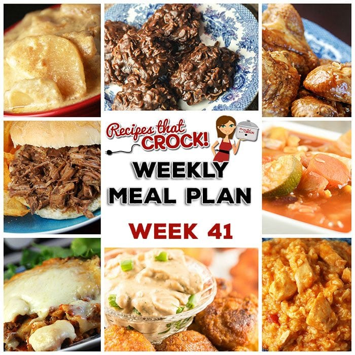 This week's weekly menu features Crock Pot BBQ Steak Sandwiches, Cheesy Salsa Crock Pot Chicken Rice, Crock Pot All-Day Veggie Soup, Crock Pot Honey BBQ Chicken Wings, Crock Pot Saucy Potatoes, Crock Pot Cheesy Lasagna, Crock Pot Blueberry Coffee Cake, Crock Pot Creamy BBQ Ranch Dip and Crock Pot No Bake Cookies.