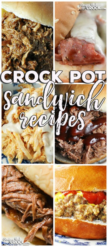 This week for our Friday Favorites we have some yummy Crock Pot Sandwich Recipes like Crock Pot Buffalo Chicken Sliders, Crock Pot Hot Pastrami Sandwiches, Crock Pot Mississippi Beef Sandwiches, Crock Pot Cheeseburger Sandwiches, Crock Pot Apple BBQ Chicken Sandwiches and Crock Pot Virginia Style Shredded Beef Sandwiches!