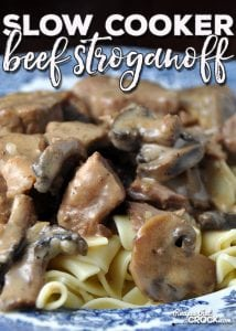 If you love a delicious meal that will fill you up and everyone will love, you have to try this Slow Cooker Beef Stroganoff! Yummy!