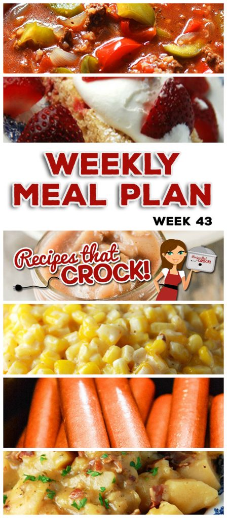 This week's weekly menu features Slow Cooker Ranch Pork Chops, Creamy Crock Pot Corn, Crock Pot Chicken Fajitas, Slow Cooker Stuffed Pepper Soup, Crock Pot Pork Chop Delight, Crock Pot Hot Dogs, Crock Pot German Potato Salad, Crock Pot Strawberry Breakfast Cake, Crock Pot Homemade Apple Pie Filling and Crock Pot Peach Apple Sauce.