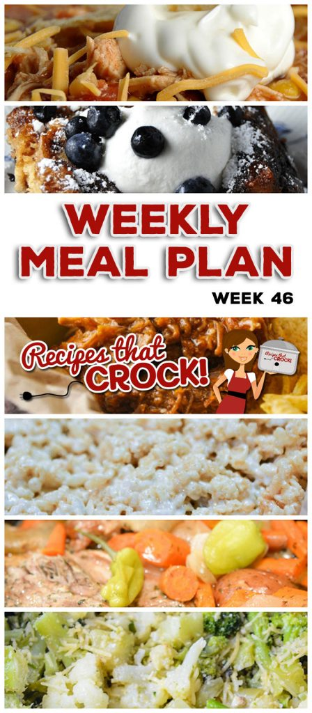 This week's weekly menu features Crock Pot Chicken Divan, Crock Pot Parmesan Broccoli Cauliflower, Slow Cooker Mississippi Pork Roast with Vegetables, Crock Pot Chicken Taco Soup, Sweet and Savory Beef, Crock Pot Garlic Parmesan Potatoes, Crock Pot Mu Shu Pork, Crock Pot Blueberry French Toast, Crock Pot Rice Krispy Treats and Crock Pot Roasted Cajun Pecans!