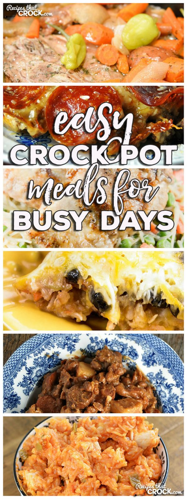 This week for our Friday Favorites we have some yummy Easy Crock Pot Meals for Busy Days like Crock Pot Crustless Pizza, Slow Cooker Mississippi Pork Roast with Vegetables, Crock Pot Nacho Chicken and Rice, Crock Pot Mexican Rice Veggie Bake, Easy Chicken Crock Pot Dinner for Two and Crock Pot Chuck Wagon Stew.