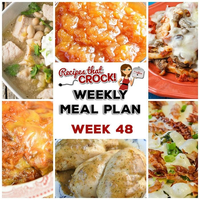 This week's weekly menu features Crock Pot Bacon Broccoli Chicken, Crock Pot Sloppy Joe Casserole, Crock Pot Chili Verde Soup, Crock Pot Cajun Chicken, Crock Pot Red Beans and Sausage, Crock Pot Pizza Casserole, Crock Pot Creamy Oatmeal, Crock Pot Peach Apple Sauce and Crock Pot Chocolate Pudding.