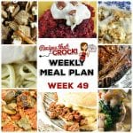 This week's weekly menu features Crock Pot Homemade Sloppy Joes, Crock Pot Bacon Mushroom Pork Roast, Crock Pot Bean Bacon Soup, Crock Pot Maple Beef Brisket, Crock Pot Mozzarella Stuffing, Crock Pot Chicken with Gravy, Crock Pot Oatmeal Raisin Cookie Overnight Oats, Crock Pot Red Velvet Spoon Brownies and Crock Pot Firecracker Party Mix.