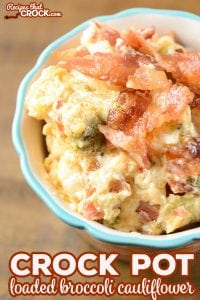 Are you looking for a delicious side dish that you can throw in your slow cooker for a special family dinner or holiday dish? OurCrock Pot Loaded Broccoli Cauliflower is a creamy, cheesy casserole that everyone loves and it just so happens to be low carb too!