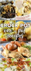 This week for our Friday Favorites we have some yummy One-Pot Crock Pot Recipes like One Pot Crock Pot Chicken Dinner, Crock Pot Bacon Broccoli Chicken, Crock Pot Sausage, Green Beans and Potatoes, Crock Pot French Onion Beef Casserole, Crock Pot One-Pot Chicken Casserole and Crock Pot Farmers Pie.