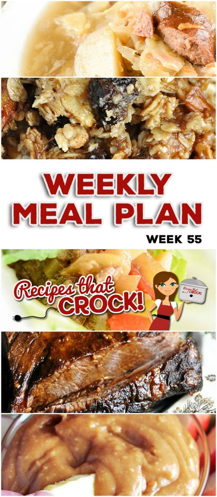 This week's weekly menu features Crock Pot Creamy Italian Chicken Noodles, Crock Pot Creamy Italian Chicken Noodles, Crock Pot Polish Sausage Cabbage Soup, Crock Pot Lettuce Wraps, Crock Pot Pizza with Mac and Cheese Crust, Crock Pot Cream Cheese Caramel Dip, Crock Pot Apple Granola Breakfast and Slow Cooker Pumpkin Spoon Cake.