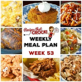 This week's weekly menu features Crock Pot Chicken Legs {Mississippi Style}, Crock Pot Cheesy Fiesta Corn, Steak Tacos, Crock Pot Savory Beef Stew, Tangy Crock Pot Pork Chops, Crock Pot Sweet Tangy Carrots, Sweet Crock Pot Honey BBQ Hot Dogs, Crock Pot Pineapple Baked Beans, Crock Pot Party Sausages, Crock Pot Banana Bread and Crock Pot Vanilla Sour Cream Cake!