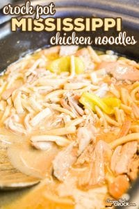 Our Crock Pot Mississippi Chicken Noodles combines two of our favorite recipes to serve up the ultimate comfort food for your family dinner or holiday table.#Ad #Reames #HomemadeGoodness #ComfortFood #CrockPot