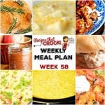 This week's weekly menu features Slow Cooker Rotisserie Chicken, Crock Pot Taco Ravioli Casserole, Crock Pot Potato Bacon Soup, Slow Cooker Beef Tips and Gravy, Crock Pot Corn Casserole, Crock Pot Pizza Burgers, Slow Cooker Apple Butter, Crock Pot Bacon Egg Cheese Casserole and Crock Pot Peachy Dump Cake.