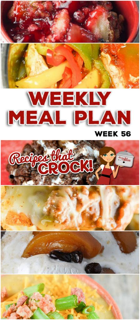 This week's weekly menu features Crock Pot Chuck Wagon Stew, Crock Pot Chicken Fajitas, Crock Pot Loaded Cheesy Cauliflower Soup, Oh-So-Flavorful Pork Roast, Extra Cheesy Crock Pot Mac and Cheese, Crock Pot Taco Bake, Rocky Road Candy, Crock Pot Spiced Peaches and Crock Pot Cherry Pineapple Dump Cake.