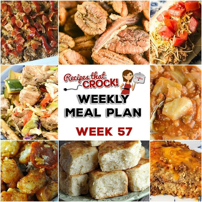 This week's weekly menu features Crock Pot Mississippi Whole Chicken,  Crock Pot Taco Joes, Crock Pot Unstuffed Cabbage Soup, Bacon Ranch Meatloaf, Crock Pot Pizza Tater Tot Casserole, Crock Pot Roasted Cajun Pecans, Crock Pot Apple Crumble Cobbler and Savory Crock Pot Breakfast Casserole.