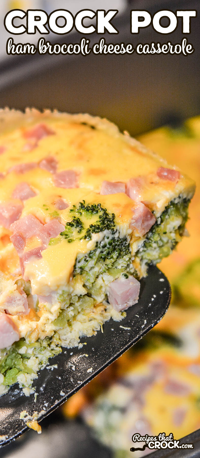 Are you looking for an easy breakfast casserole for the weekend or a holiday brunch? Our Crock Pot Ham Broccoli Cheese Casserole is super simple to toss together and makes a great family breakfast casserole. This egg casserole is a low carb breakfast recipe that carb lovers enjoy too! #LowCarb #Breakfast #BreakfastCasserole #Brunch #HolidayBrunch #EggCasserole