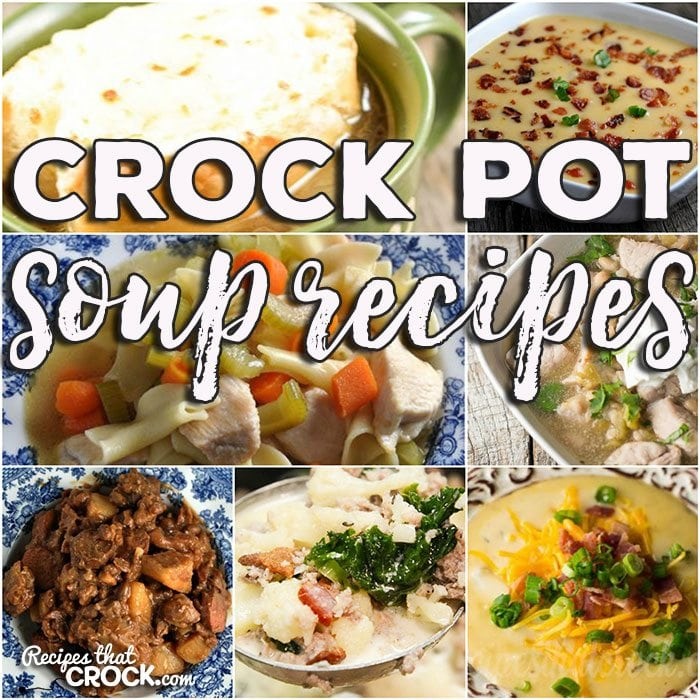 This week for our Friday Favorites we have some awesome Crock Pot Soups Recipes for you including Crock Pot Chicken Noodle Soup, Crock Pot Chile Verde Soup, Low Carb Crock Pot Zuppa Toscana Soup, Crock Pot Unstuffed Cabbage Soup, Crock Pot Potato Soup, Crock Pot French Onion Soup, Crock Pot Chuck Wagon Stew and Crock Pot Easy Cheesy Potato Soup.