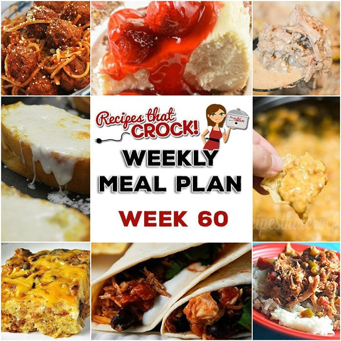 This week's weekly menu features Crock Pot Mississippi Beef, Easy Crock Pot Chicken Tacos, Crock Pot Steak Mushroom Soup, Zesty Shredded Crock Pot Pork, Crock Pot Spaghetti and Meatballs, Mom's Cheesy Garlic Bread, Crock Pot Sausage Cheese Dip, Homemade Crock Pot Cheesecake and Crock Pot Cheesy Bacon Casserole.