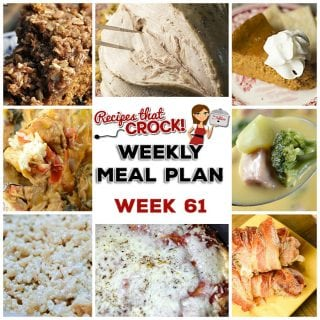 This week's weekly menu features Crock Pot Country Ribs, Crock Pot Creamy Chicken Fajita Bowls, Crock Pot Cheesy Vegetable Soup, Crock Pot Turkey Breast, Crock Pot Pull Apart Pizza Bread, Crock Pot Oatmeal Raisin Breakfast Cake, Crock Pot Rice Krispy Treats and Crock Pot Crustless Pumpkin Pie.