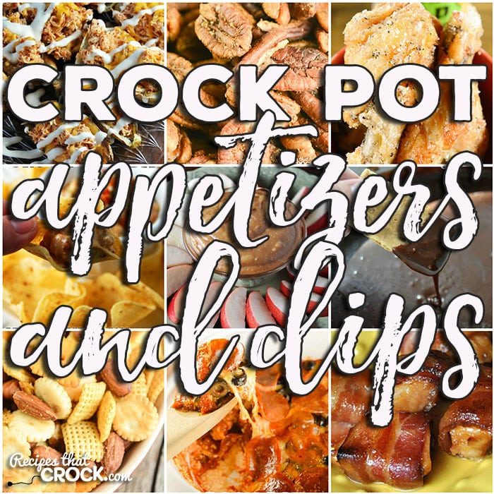 This week for our Friday Favorites we have some awesome Crock Pot Appetizers & Dips like Crock Pot Chicken Wings – BW3 Copycat recipe, Crock Pot Pull Apart Pizza Bread, Crock Pot Mini Cream Cheese Stuffed Peppers, Crock Pot Bacon Wrapped Chicken Bites, Crock Pot Party Sausages, Crock Pot Cream Cheese Taco Dip, Crock Pot Buffalo Chicken Potato Skins, Crock Pot Roasted Cajun Pecans, Smoky Crock Pot Chex Mix, Crock Pot Buffalo Ranch Chicken Nachos, Crock Pot Cream Cheese Caramel Dip, Crock Pot Hot Pizza Dip, Crock Pot Caramel S'More Fondue, Crock Pot Buffalo Ranch Dip, Crock Pot Under the Sea Dip, Crock Pot Cheesy Party Mix, Crock Pot Buffalo Meatballs, Crock Pot Parmesan Ranch Party Mix, Crock Pot Rumchata Caramel Dip, Crock Pot Chicken Wing Dip, Crock Pot Bacon Brown Sugar Sausages, Crock Pot Sausage Cheese Dip, Bacon Cheeseburger Crock Pot Dip, Sweet Tangy Meatballs, Cheesy Bean Dip, Easy Party Meatballs and French Onion Meatballs.