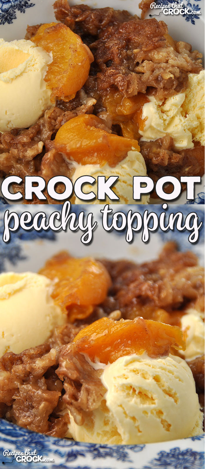 No matter the season, this Crock Pot Peachy Topping is going to satisfy your sweet tooth! You can make it with fresh, frozen or canned peaches!