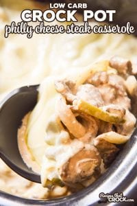 Are you looking for a delicious low carb recipe to satisfy your Philly Cheese Steak cravings? This Crock Pot Philly Cheese Steak Casserole is a creamy, cheesy family dinner casserole recipe inspired by the famous sandwich that is low on carbs and high on flavor!