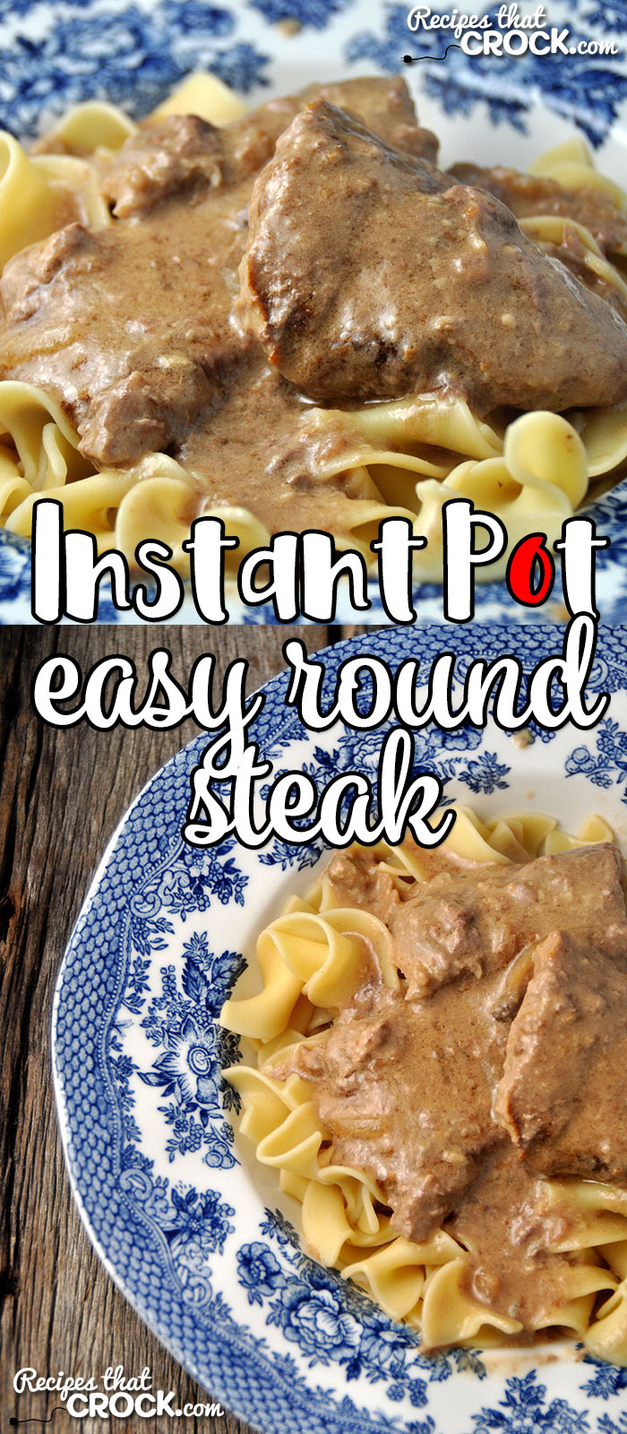 If you are looking for a super easy comfort food recipe that takes less than an hour start to finish, I have you covered. This Easy Instant Pot Round Steak takes a tougher cut of meat and makes it super tender super fast!