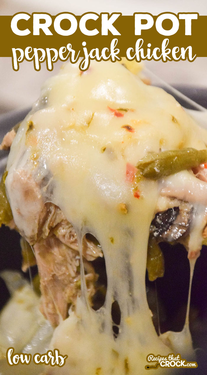 This Crock Pot Pepper Jack Chicken is one of my family's all time favorites! Tender boneless chicken, melted pepper jack cheese and savory peppers, mushrooms and green beans make this one pot meal unique and flavorful. It is not only delicious, but low carb too! via @recipescrock
