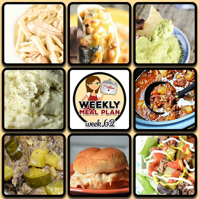 This week's weekly menu features Crock Pot Chicken Noodles, Instant Pot Chicken Noodles, Crock Pot No Boil Mashed Potatoes, Crock Pot Tex Mex Chicken Tacos, Guacamole, Crock Pot Best Ever Beef Stew, Crock Pot Cheeseburger Salad, Crock Pot Hot Turkey Sandwiches, Crock Pot Cowboy Beans, Crock Pot Dilly Roast, Instant Pot Dilly Roast, Crock Pot Creamy Corn, Slow Cooker French Toast Casserole, Princess Crock Pot Candy and Crock Pot Seasoned Crackers