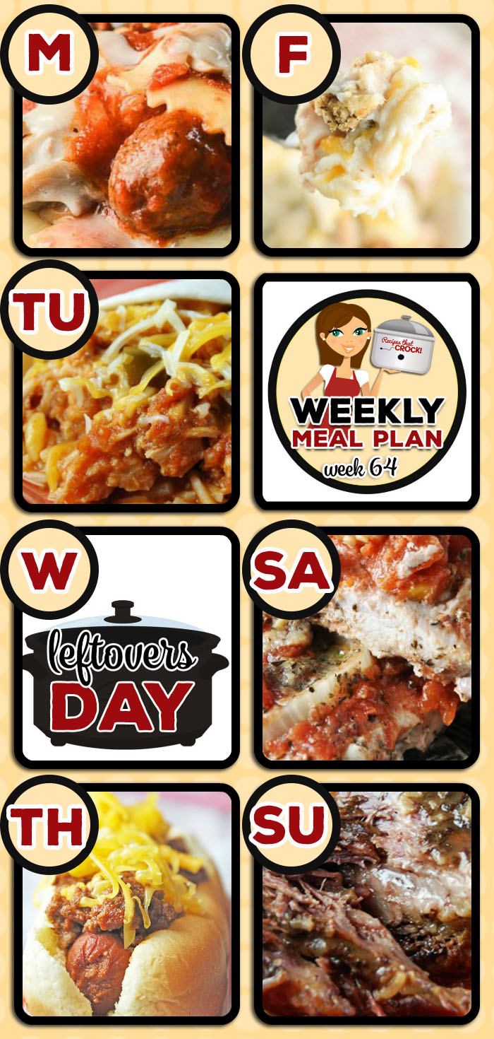 This week's weekly menu features Crock Pot Ravioli Meatball Casserole, Crock Pot Fiesta Shredded Pork Wraps, Crock Pot Chicken Pot Pie Soup, Crock Pot Coney Dogs, Crock Pot Farmer's Pie, Easy Crock Pot Italian Pork Chops, Savory Crock Pot Roast and Garlic Ranch Crock Pot Mashed Potatoes, Crock Pot Apple Cinnamon Bread, Crock Pot Cherry Delight and Crock Pot Blueberry Coffee Cake.