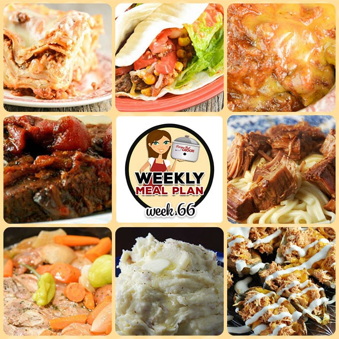This week's weekly menu features Easy Crock Pot Lasagna Recipe, Crock Pot Beefy Tex Mex Tacos, Crock Pot Refried Beans, Low Carb Crock Pot Pizza Soup, Crock Pot Sloppy Joe Casserole, Slow Cooker Swiss Steak, Creamy Crock Pot Mashed Potatoes, Crock Pot Easy Teriyaki Beef, Slow Cooker Mississippi Pork Roast with Vegetables, Crock Pot Cinnamon Roll Mixed Berry Cobbler, Crock Pot Breakfast Sausage Strata and Crock Pot Buffalo Chicken Potato Skins.