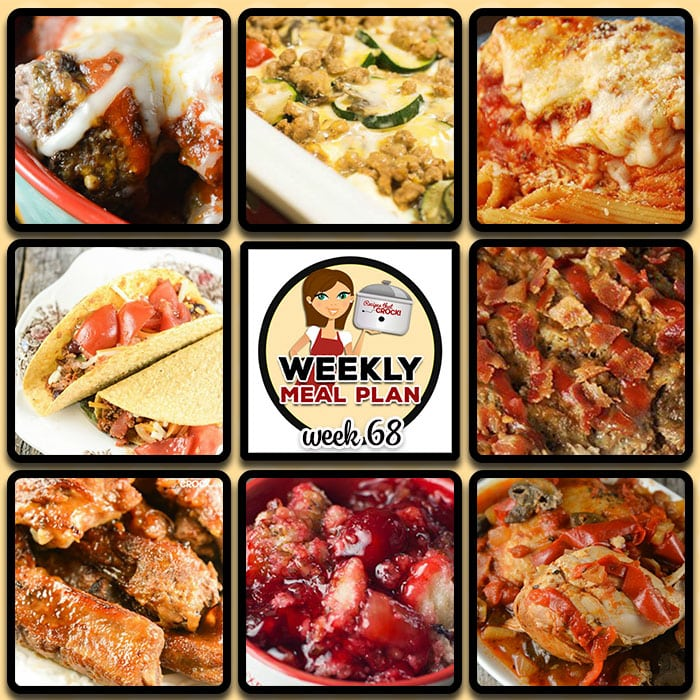 This week's weekly menu features Crock Pot Meatball Parmesan {Low Carb}, Crock Pot Beefed Up Tacos, Slow Cooker Stuffed Pepper Soup, Easy Crock Pot Ribs {Maple Whiskey}, Crock Pot Italian Mozzarella Chicken, Crock Pot Bacon Ranch Meatloaf, Crock Pot Chicken Cacciatore, Crock Pot French Onion Meatballs, Crock Pot Cherry Pineapple Dump Cake and Slow Cooker Breakfast Casserole.