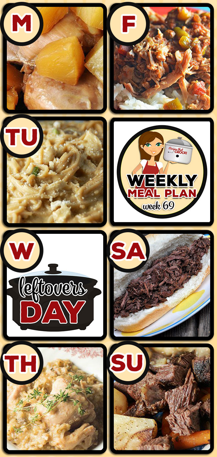 This week's weekly menu features Easy Crock Pot Teriyaki Chicken, Creamy Chicken Spaghetti {Crock Pot}, Slow Cooker Beef Stew (Low Carb), Crock Pot Chicken and Herbed Rice, Zesty Shredded Crock Pot Pork, Easy Crock Pot Beef French Dips, Crock Pot Pot Roast and Dumplings, Crock Pot Creamy BBQ Ranch Dip, Crock Pot Strawberry Shortcake and Crock Pot Caramel Pecan Rolls.