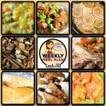 This week's weekly menu features Easy Crock Pot Mongolian Beef, Crock Pot Lemon Pepper Chicken, Crock Pot Cheeseburger Soup, Crock Pot Creole Pork Chops, Crock Pot One-Pot Chicken Casserole, Crock Pot Taco Ravioli Casserole, rock Pot Pork Roast and Veggies, Crock Pot Firecracker Party Mix, Crock Pot Baked Apples and Crock Pot Cheesy Bacon Casserole.