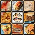 This week's weekly menu features Crock Pot BBQ Steak Sandwiches, Crock Pot Pork Carnitas, Crock Pot Italian Hobo Stew, Crock Pot Asian Honey Chicken, Crock Pot Taco Joes, Crock Pot Catalina Chicken Thighs, Crock Pot Mississippi Beef, Crock Pot Buffalo Ranch Chicken Nachos, Crock Pot Peanut Butter Jelly Cheesecake and Crock Pot Oatmeal Raisin Breakfast Cake.