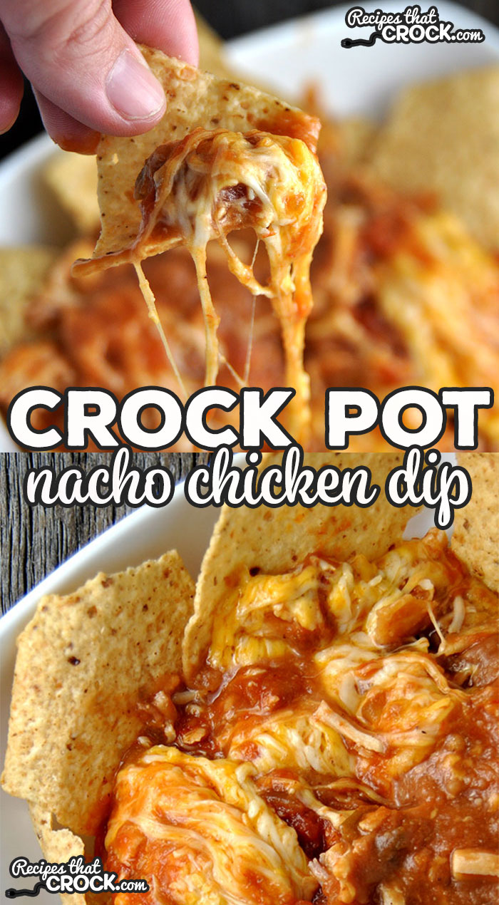 It doesn't get much easier than this delicious Crock Pot Nacho Chicken Dip! It is sure to be a hit with everyone! via @recipescrock