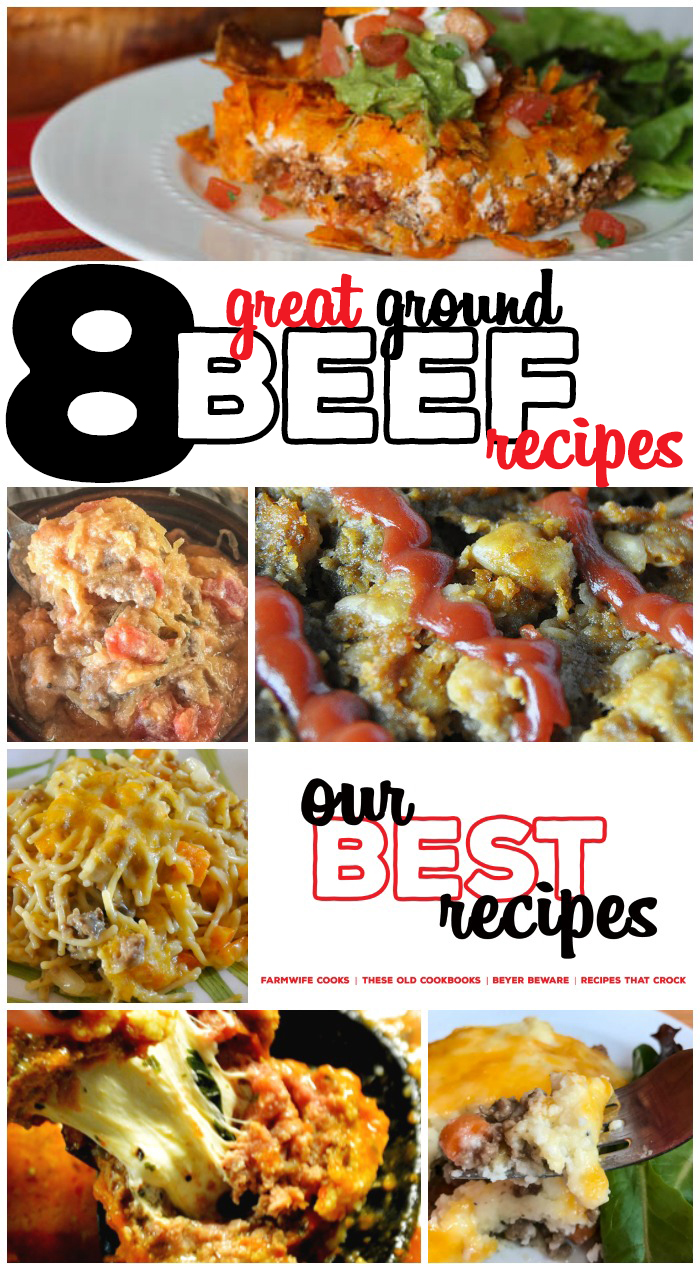 Are you looking for a new ground beef recipe? These quick and easy ground beef recipes are some of the best! This collection of 8 Great Ground Beef Recipes includes family dinner ideas like Cowboy Beans, Taco Bake, Meatballs, Shepherd's Pie and more! Low Carb Ground Beef Recipes too!