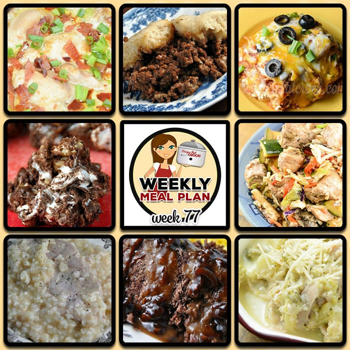 This week's weekly menu features Crock Pot Mexican Lasagna, Low Carb Crock Pot Creamy Bacon Onion Chicken, Crock Pot Broccoli Cheese Soup, Easy Crock Pot Creamy Pork and Rice, Crock Pot Hamburger Casserole, Crock Pot Mu Shu Pork, Easy Crock Pot Roast, Crock Pot Party Sausages, Crock Pot Rocky Road Candy and Crock Pot Ham Tomato Egg Casserole.