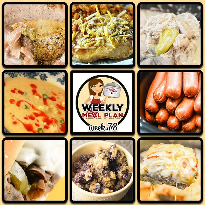 This week's weekly menu features Crock Pot Duck, Crock Pot Cheesy Taco Pork Chops, Crock Pot Buffalo Chicken Soup, Crock Pot Philly Cheesesteak, Creamy Crock Pot Mississippi Chicken, Cooking Hot Dogs in Bulk, Crock Pot Meatloaf Parmesan, Creamy Crock Pot Chicken Salsa Dip, Mixed Berry Crock Pot Cobbler and Crock Pot Blueberry Breakfast Casserole.