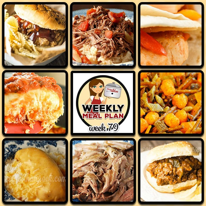 This week's weekly menu features Crock Pot Pulled Pork, Crock Pot Chicken Fajitas, Crock Pot Chicken Tortilla Soup, Crock Pot Swiss Steak and Rice, Crock Pot Sloppy Joes, Crock Pot Cheesy Chicken, Crock Pot Garlic Pork Roast, Crock Pot Cheesy Party Mix, Crock Pot Peachy Topping and Crock Pot Italian Egg Casserole.